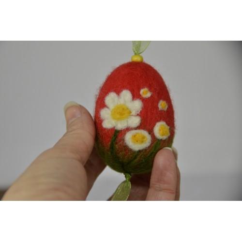 Червено яйце  маргаритки 6см