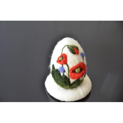 Бяло яйце с  макове и метличина-8см