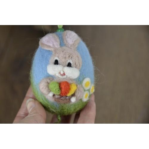 Синьо яйце със зайче 7см