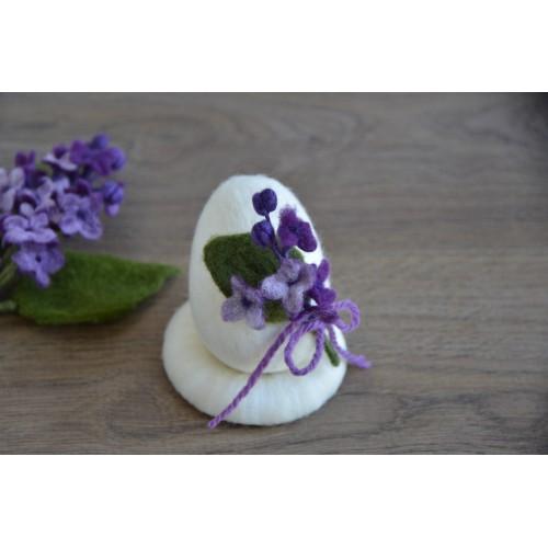 Бяло яйце с люляк 3D-8см